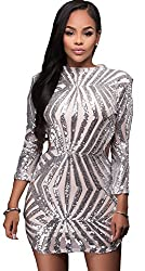 Long Sleeve Hollow Out Open Back Sequin Dress