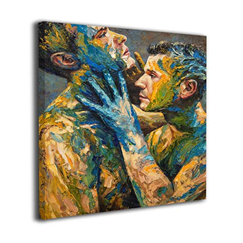 Kissing Gay Couple Erotic Naked Nude Man Oil Paintings On Canvas Modern Square Stretched and Framed Artwork Ready to Hang Wall Art for Home Office Wall Decor 20