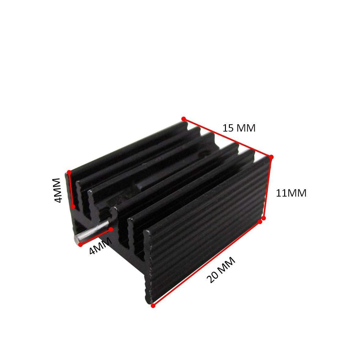 Easycargo TO-220 Heatsink + Insulator/Mounting kits (TO220 Heat sink +Screw+Washer+Bushing+Insulator rubberized Silicone) for LM78XX voltage regulator, MOSFET transistor 20mmx15mmx11mm (Black 20 pack) by Easycargo (Image #2)
