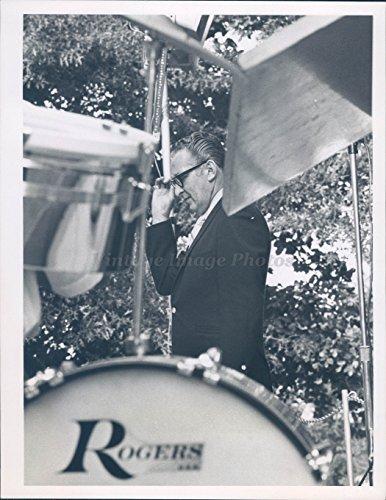1970 Photo Rogers Drum Set Instruments Business Glasses Euclid Nehez Portrait (Rogers Set Drum)