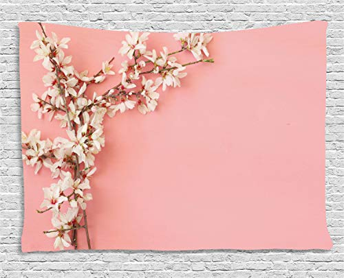 Ambesonne Almond Blossom Tapestry, Spring Cherry Blossom Tree on Pink Background Pastel Japanese Design, Wall Hanging for Bedroom Living Room Dorm, 60 W X 40 L Inches, Cream Pale Pink