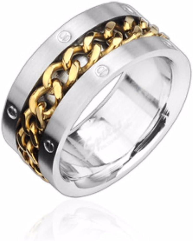 Oro Cadena De Spinning Center 316L anillo de acero inoxidable ...