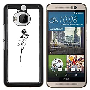 Stuss Case / Funda Carcasa protectora - Resumen señora Woman Dancer Squiggle Blanca - HTC One M9+ M9 Plus