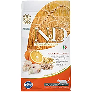 Farmina Natural And Delicious Wild Cod And Orange Ancestral Low-Grain Formula Dry Cat Food, 3.3 Pound Bag