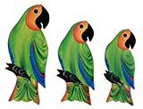 NOVICA Animal Themed Pine Wood Wall Mural, Green 'Amazon Parrots' (Set of 3)
