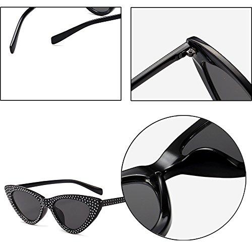 foncé Noir Œil Soleil Lunettes De lentille Chat Gris Uv400 Rétro Triangle Kindoyo Mode Classique cadre Femmes PqffcO