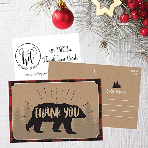 25 4x6 Blank Woodland Christmas Holiday Thank You Postcards Bulk, Cute Kraft Winter Snowflake Note Card Stationery For Wedding, Bridesmaids, Bridal or Baby Shower, Teachers, Religious, Business Cards Photo #5