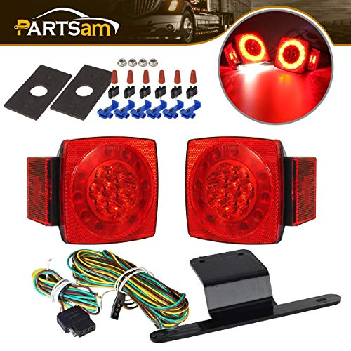 Partsam Led Submersible Trailer Tail Lights Kit, Waterproof 12V Square LED Trailer Lights Halo Glow with Wiring Harness Combination Brake Stop Turn Running License Lights for RV Marine Boat Trailer