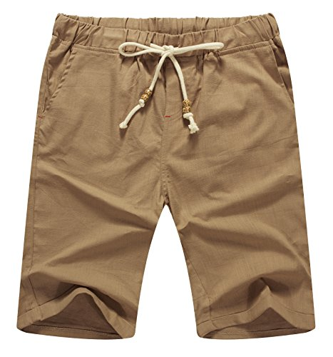 Mr.Zhang Men's Linen Casual Classic Fit Short Summer Beach Shorts Dark Khaki-US M