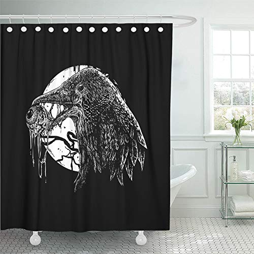 Emvency Shower Curtain Set Waterproof Adjustable Polyester Fabric Artistic Black White Crow Drawn Raven Sketch 72 x 78 Inches Set with Hooks for -