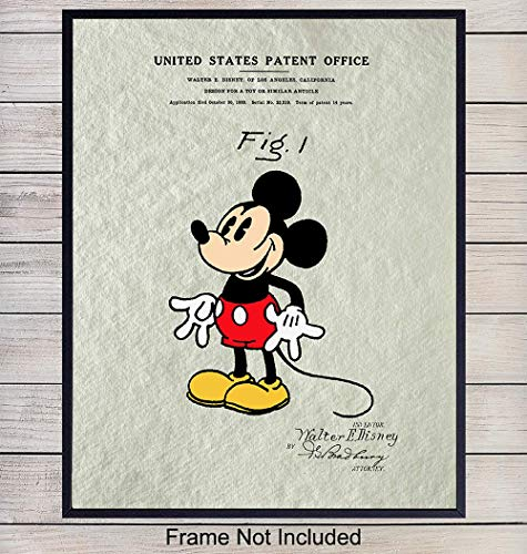 (Mickey Mouse Patent Art Print - Vintage Wall Art Poster - Chic Rustic Home Decor for Kids Room, Living Room, Bedroom - Gift for Walt Disney World, Disneyland Fans, 8x10 Photo Unframed)