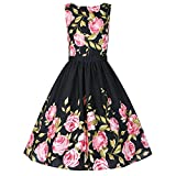 ZAFUL Woman Vintage Floral Round Collar Sleeveless Swing Cocktail Dress with Belt (L)