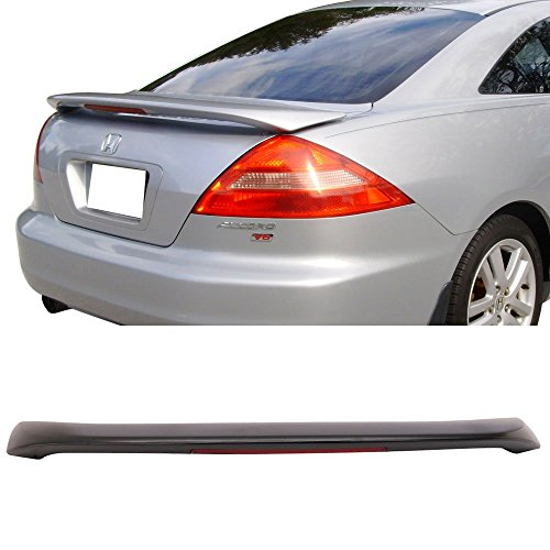 Trunk Spoiler w/3rd Brake LED Light Fits 2003-2005 Honda Accord | OE Style Unpainted Black ABS Added On Rear Deck Lip Wing Bodykits by IKON MOTORSPORTS | 2004