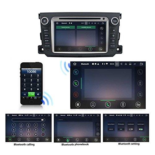 2 Din 7 pouces Android 7.1 stéréo de voiture pour Benz Smart 2011 2012 2013,DAB+ radio 1024x600 écran tactile capacitif avec Quad Core Cortex A9 1.6G CPU 16G flash et 2G de RAM DDR3 GPS Navi Radio Lecteur delicate