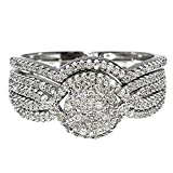 10K White Gold Wedding Set Diamonds Round Top Pave Set (1/2 cttw, I/j Color, i2-i3 clarity)