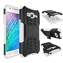 J3 Case, Express Prime Case, Amp Prime Case, MCUK Heavy Duty Rugged Dual Layer - Soft/Hard Shell 2 in 1 Tough Protective Case with Kickstand for Samsung Galaxy J3 / Express Prime / Amp Prime (White)