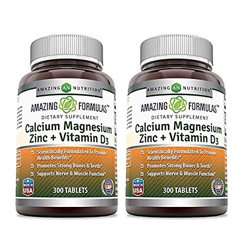 Amazing Nutrition Calcium Magnesium Zinc + Vitamin D3 300 Tablets - 2 Pack