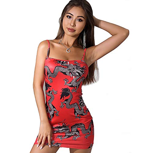 Women Dragon Printed Spaghetti Strap Dress Red Bodycon Chinese Style Backless Ladies Elegant Dresses (M, Red)