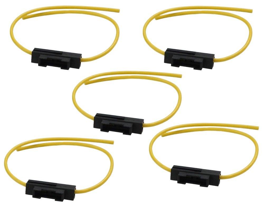 Aerzetix: 5 X Fassung fü r KFZ Sicherung 19mm, MAX 20A 2.5mm2 Kabel Gelb Halter Sicherungshalter fü r Sicherungen SK2-C10031x5-A32