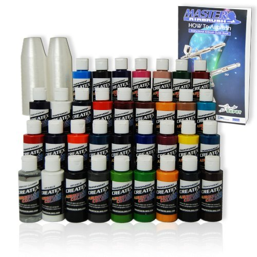 - TRANSPARENT 33 CREATEX AIRBRUSH PAINT COLORS SET