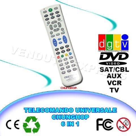 CONTROL REMOTO UNIVERSAL 6 EN 1 CHUNGHOP RM-L688 TV VCR DVD SAT AUX DGTV 663 009: Amazon.es: Electrónica