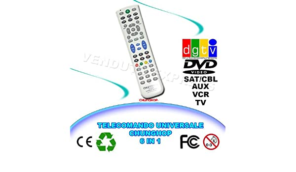 UNIVERSAL REMOTE CONTROL 6 IN 1 CHUNGHOP RM-L688 TV VCR DVD SAT ...