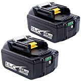 Biswaye 2Pack 5.0Ah 18V Lithium Battery BL1830B BL1850B for Makita 18-Volt LXT Lithium Battery BL1830 BL1840 BL1850 BL1860 BL1815 BL1845 LXT-400 194205-3 194204-5 with LED Power Display
