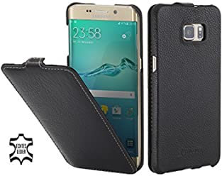 StilGut Housse pour Samsung Galaxy S6 Edge+ en Cuir véritable et à Ouverture Verticale, Noir