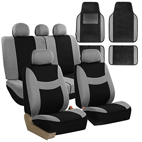 FH GROUP FH-FB030115 Light & Breezy Cloth Seat Cover Set Airbag & Split Ready with Premium Carpet Floor Mats Gray / Black- Fit Most Car, Truck, Suv, or Van by FH Group