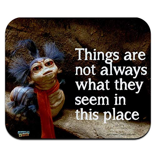 Labyrinth The Worm Quote Thing are Not Always What They Seem in This Place Low Profile Thin Mouse Pad Mousepad