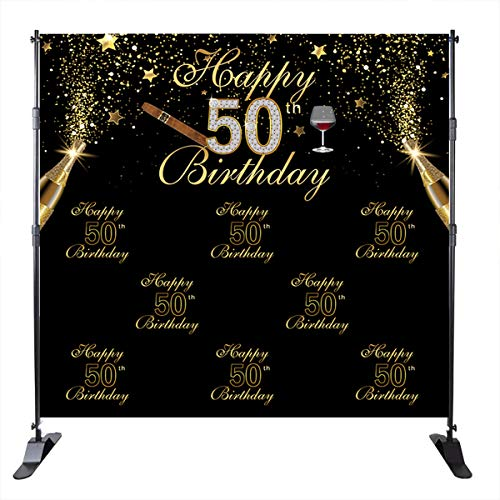 Mehofoto 50th Birthday Backdrop Champagne Cigar Background Black and Gold Star 50 Years Old Birthday Party Banner Decoration Men's Birthday Customized Photo Studio -