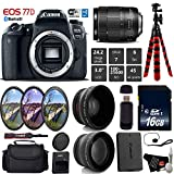 Canon EOS 77D DSLR Camera with 18-135mm is USM Lens + UV FLD CPL Filter Kit + Wide Angle & Telephoto Lens + Camera Case + Tripod + Card Reader – International Version