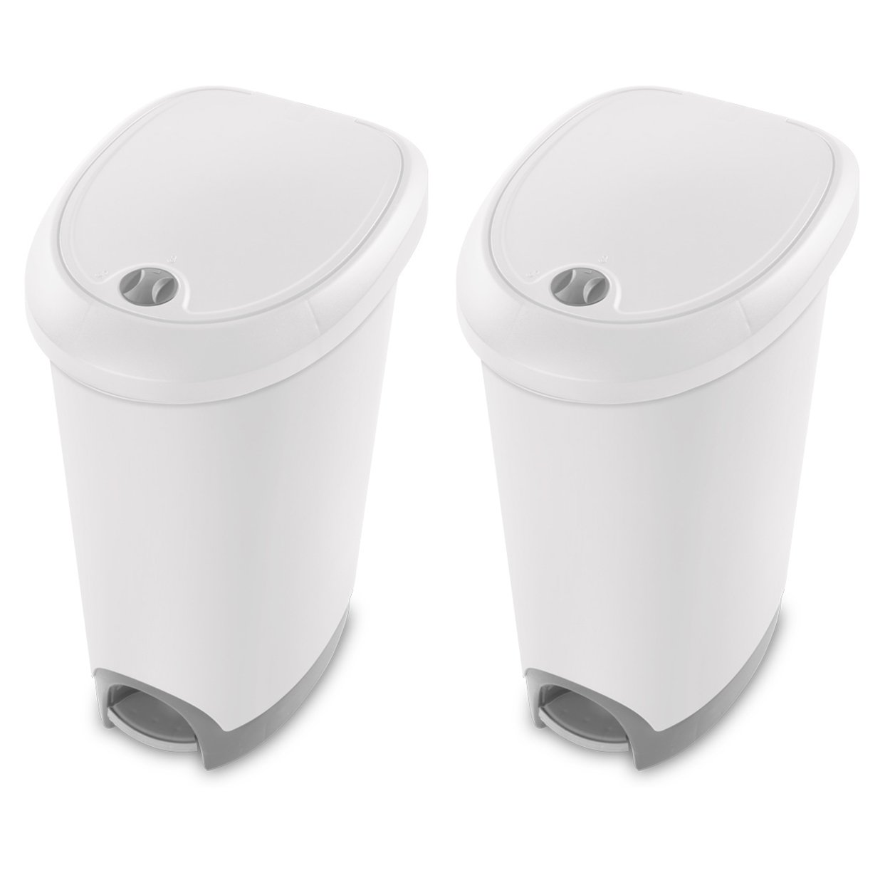 STERILITE 12.6 Gallon Locking StepOn Wastebasket, White (2 Pack) | 10738002
