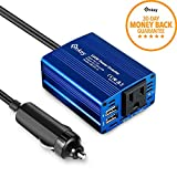 Enkey 150W Car Power Inverter DC 12V to 110V AC Converter with 3.1A Dual USB Charger - Blue