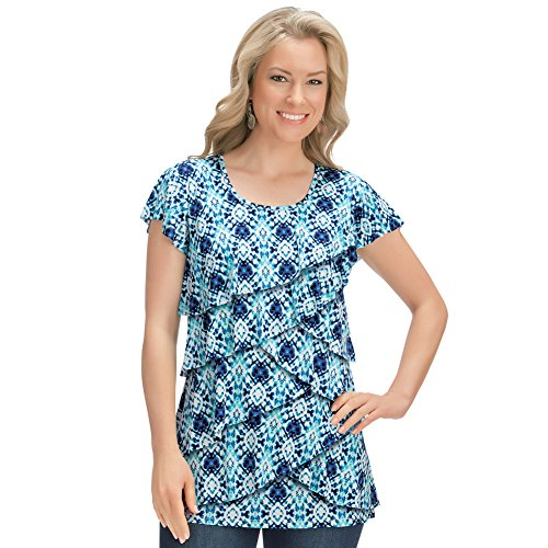 Collections Women's Tie Dye Print Tiered Ruffle Front Short Sleeve Scoop Neck Top, Blue Multi, (Tiered Ruffle Top)