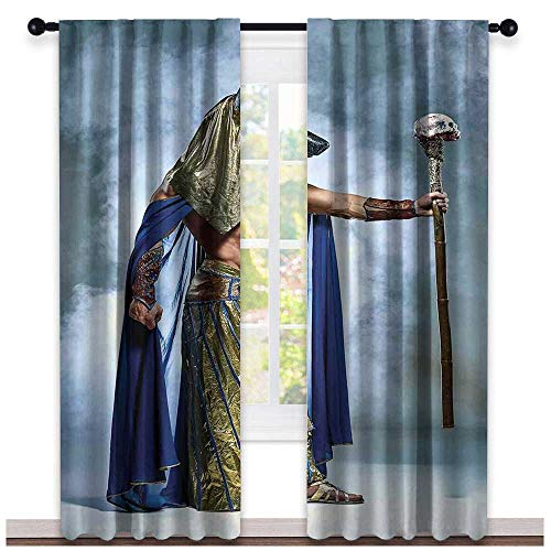 hengshu Egyptian, Curtains Blackout 2 Panels, Ancient Egyptian Pharaoh with a Mask of Anubis Foggy Background Print, Curtains Living Room, W96 x L96 Inch Navy Gold and Dimgrey