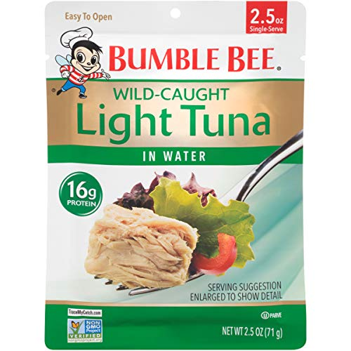 BUMBLE BEE Premium Light Tuna Pouch in Water, Ready to Eat Tuna Fish, High Protein, Keto Food and Snacks, Gluten Free, 2.5oz Pouch (Pack of 12) ()