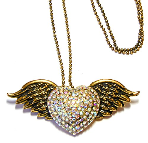 Evelyn Hope Collection Valentine Necklace-Valentine Pendant-Gold Winged Heart Crystal Necklace Pin Jewelry
