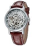GuTe Orkina Mens Steam Punk Bird Nest Skeleton Dial Mechanical Hand Winding Wrist Watch