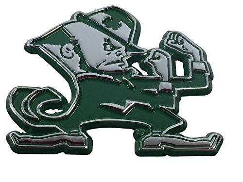 Notre Dame Leprechaun METAL Auto Emblem with Green Trim Notre Dame Emblem