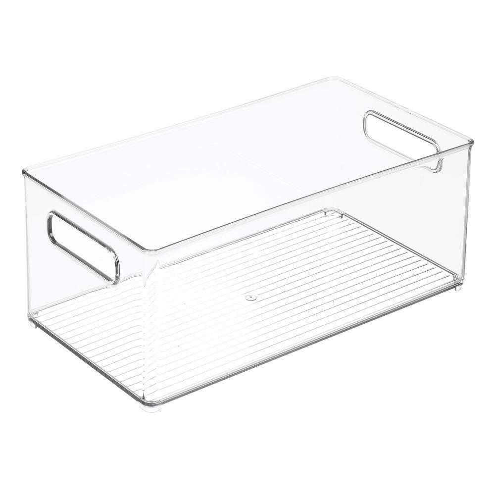 stapelbares Ordnungssystem mit integrierten Tragegriffen mDesign 4er-Set K/üchen Aufbewahrungsbox durchsichtig ideal einsetzbar als K/ühlschrankbox oder Gefrierbox