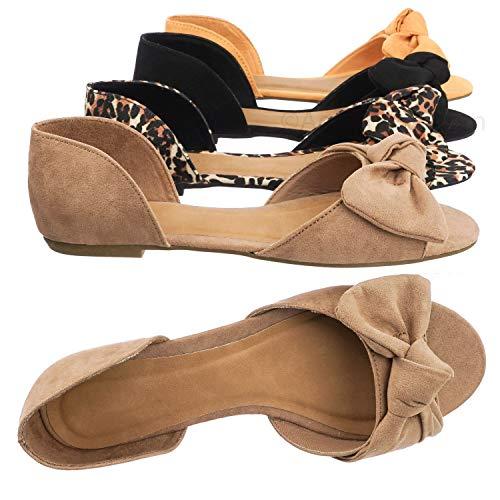 Aquapillar Bow D'Orsay Peep Toe Flats - Women Slip On Two Piece Sandal Camel Beige