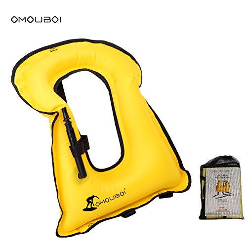 Life Jackets Omouboi Unisex Child Inflatable Snorkel Vest Snorkel Jacket Free Diving Safety Jacket Life (Vest Child Snorkel)