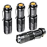 LED Tactical Flashlight Portable - Moobibear 3 Lighting Models Zoomable Handheld Flashlight with Belt Clip Water Resistant Torch For Emergency,Hurricane,Cycling Hiking Camping,4 Pack