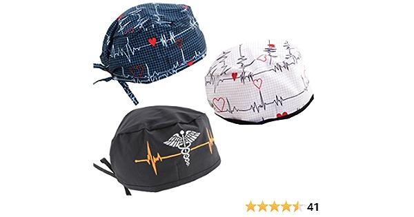 Details about  /2PK Nurse Hat Fashion Surgical Cap Working Scrub Bouffant Doctor Adjustable ECG