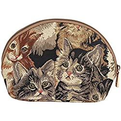 Cat Print Tapestry Makeup Bag Travel Cosmetic Bag Brush Bag for Women Girls by Signare (COSM -CAT)
