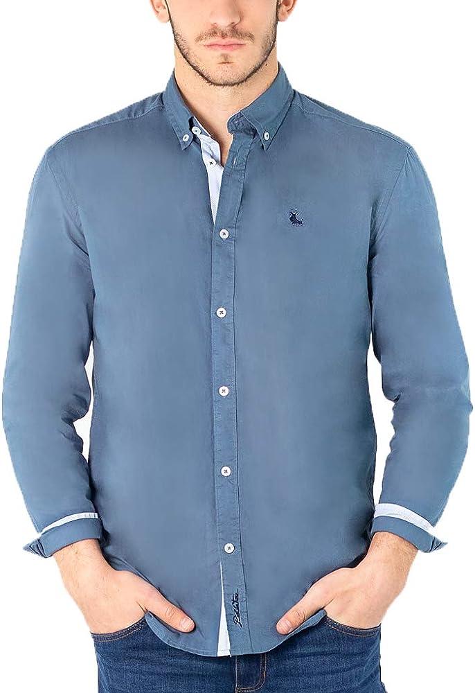 Piel de Toro Camisa Básica Slim Fit con Contrastes Casual, Azul (Azul Celeste 17), XXX-Large (Tamaño del Fabricante:XXXL) para Hombre: Amazon.es: Ropa y accesorios