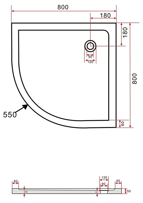 Großartig 80x80 Duschtasse Duschwanne Extra flach 50 mm Viertelkreis Weiß  HX38