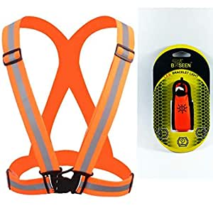 Reflective Set High Visibility.(VEST and LED BRACELET) One size Fits All. Great for Running, Jogging, Walking, Cycling and Safety. Fits over Outdoor Gear. (ORANGE))