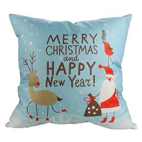Luxbon Merry Christmas Pillow Case Santa Claus Reindeer Snowman Snowflake Christmas Tree Xmas Couch Sofa Cushion Cover Cotton Linen Happy New Year Home Decor Throw Pillow Cover 18 x (Santa Reindeer Snowman)